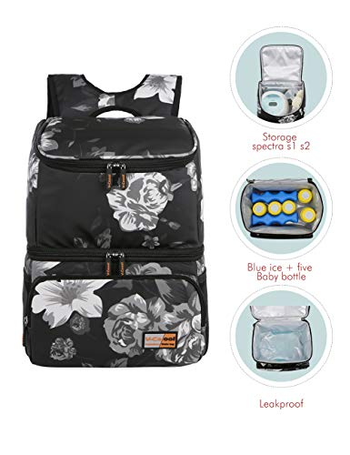 V-COOOL Breast Pump Backpack Diaper Backpack Storage Milk Bag Double Layer with Cooler for Work Mom