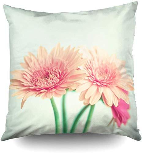 Fundas de almohada, diseño de margaritas de coral rosa y rosa sobre un fondo de primavera verde menta de 50 x 50 cm, para decoración del hogar, dormitorio y sofá