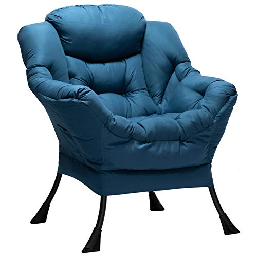 HollyHOME Poltrona, Relax Poltrona con Braccioli e Divano Pocket, Leisure Sofa con Tessuto Moderno e Struttura in Acciaio, Blu Navy