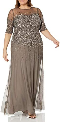 Adrianna Papell Women s Plus Size 3 4 Sleeve Beaded Illusion Gown with Sweetheart Neckline Lead product image