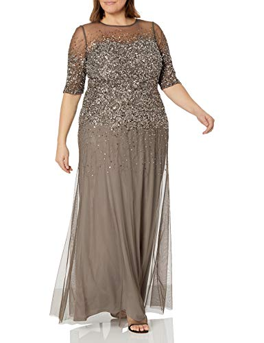 Adrianna Papell Women's Plus-Size 3/4 Sleeve Beaded Illusion Gown with Sweetheart Neckline, Lead, 18W (Apparel)