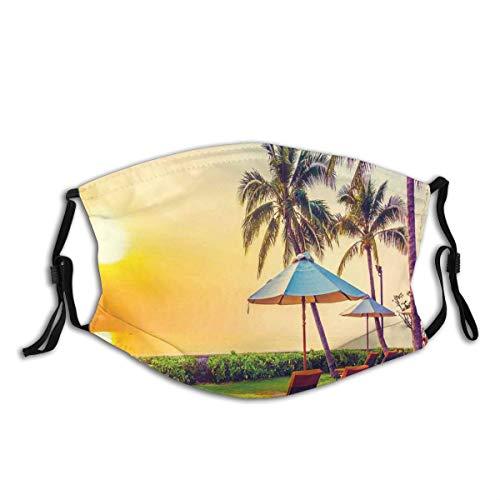 ZOANEN Gesichtsbedeckung Leerer Regenschirm und Stühle auf den Strandpalmen bei Twilight Times Vacation Theme Sturmhaube Unisex Wiederverwendbare Anti-Staub-Mund Bandanas Halsmanschette mit 2 Filtern