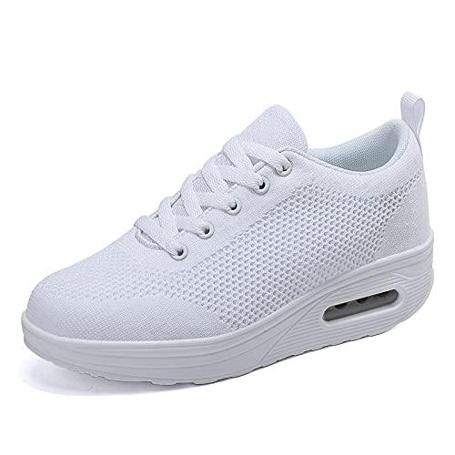 Zapatillas cuña Mujer Deportivas cuña Mujer Zapatos Deporte Gimnasio Zapatillas de Running Ligero Sneakers Cómodos Fitness Zapatos de Trabajo Blanco D 41EU