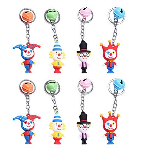 ABOOFAN 8Pcs Clown Schlüsselanhänger Süße Schlüsselbund Keychain Kinder Clown Party Geschenk Taschen Stuffers für Geburstage Weihnachten Neujahr (Zufllige Farbe)