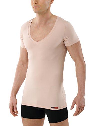 ALBERT KREUZ Camiseta Interior Invisible para Hombre de Tejido técnico algodón-Coolmax® – antisudor, Piel Seca – de Manga Corta y con Cuello de Pico Profundo – Color Piel L