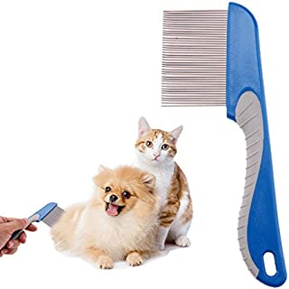 Pet Comb - 1 Piece Dog Comb Cats Hair Removal Single Row Straight Comb Puppy Hair Grooming Tool Stainless Steel 40 Pins Cl...