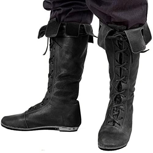 Mooke Herren Reitstiefel Vintage Mittelalterliche Flache Stiefel Gothic Steampunk Ritterstiefel Schnürstiefel Aus Kunstleder Für Halloween Cosplay,Schwarz,46