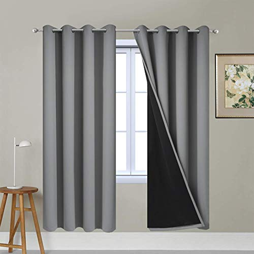Yakamok Soft and Smooth Full Shading Curtains, 100% Blackout Curtains for Bedroom, 2 Thick Layers Thermal Insulated Drapes with Black Liners (52Wx63L, Grey, One Pair)