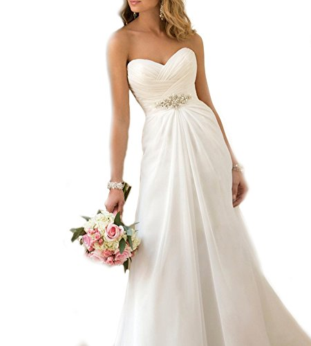 WeddingDazzle Women's Chiffon Beach Wedding Gowns Sweetheart Plus Size Wedding Dress6 White