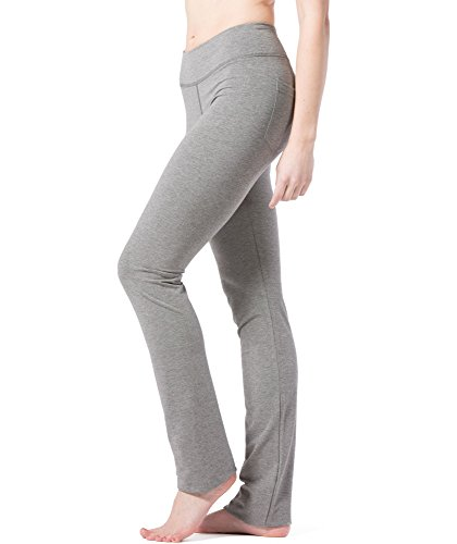 Fishers Finery Women's Straight Leg Yoga Pant with Pockets (Lt H Gry, L) Light Heather Gray