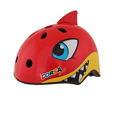 Kinder Rollschuhhelm Fahrradfahren Schutzausrüstung Balance Kopfhut Skateboard Sporthelm-Red Shark M_M
