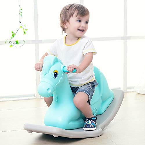 Kiblcy Durable Plastic Rocking Horse Toy Rocker Seesaw Baby Infant Pony Animal First Rocking Horse Classic Traditional Ride On Toy Gift for Boy Girl Children, 79 * 39 * 50cm