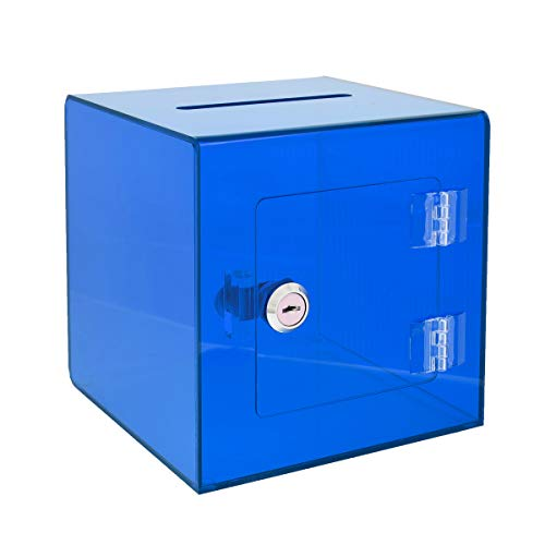 """AdirOffice 6"""" x 6'' Acrylic Ballot Box Donation Box with Easy Open Rear Door - Durable Acrylic Box with Lock - Ideal for Voting, Charity & Suggestion Collection - Crystal Blue"""