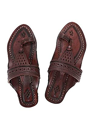 KALAPURI Womens Comfortable Cusioned Kolhapuri Chappal in Genuine Leather with Reddish Brown Pointed Shape Base and Traditional Broad Shahu Upper. Handmade in Kolhapur
