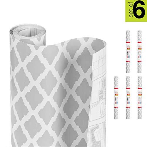 Smart Design Shelf Liner Adhesive - (18 Inch x 120 Feet) - Drawer Cabinet Paper - Kitchen [Metro Gray Lattice] - Set of 6 - 120' Total