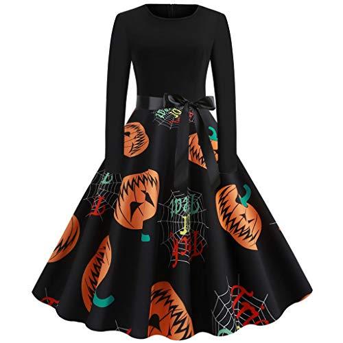 Damen 1950er Vintage Cocktailkleid,Kürbis Drucken Kleider,Einfache Halloween Kostüm,Schöne 50er Jahre -Abendkleider-Hausfrau Schwingen Kleid Faltenrock-Ballkleid-Cocktailkleid URIBAKY