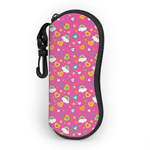 Brave Har Estuche blando para gafas de sol Estuche protector portátil ultraligero con clip para cinturón, Color Rainbow Heart