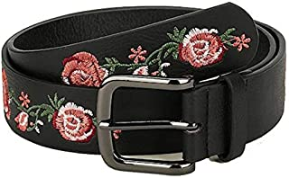 SGJFZD New Fashionable Ladies Spring and Summer Flowers Belt Embroidered Belt Wild Fashion Belt (Color : Black, Size : 80-100cm)
