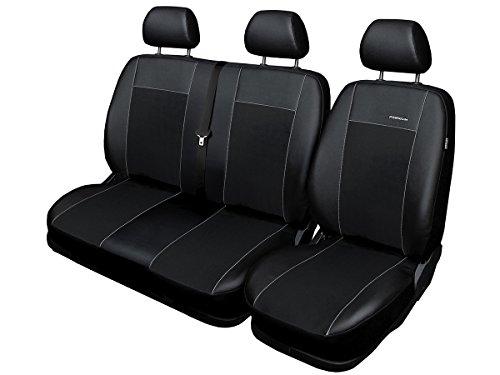 Fundas de asiento Sprinter a medida, ajuste perfecto, fundas protectoras de asiento de terciopelo + acolchado de punto, decoración para coche (Premium Sprinter I), color negro