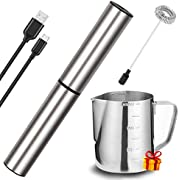 Electric Milk/Coffee Frother, Basecent Rechargeable Handheld Foam Maker/Mixer for Latte, Cappuccino, Frappe Drink, Hot Chocolate, Stainless Steel Silver