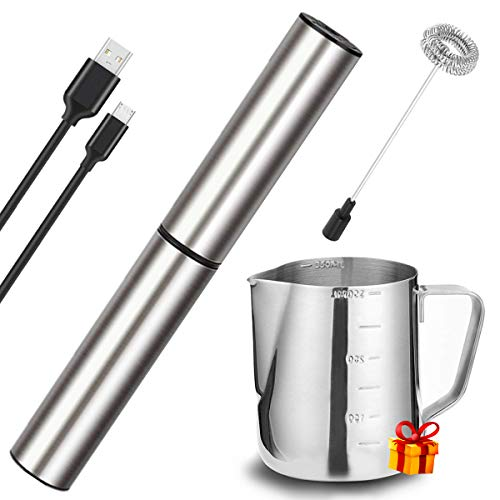 Electric Milk/Coffee Frother Basecent Rechargeable Handheld Foam Maker/Mixer for Latte Cappuccino Frappe Drink Hot Chocolate Stainless Steel Silver