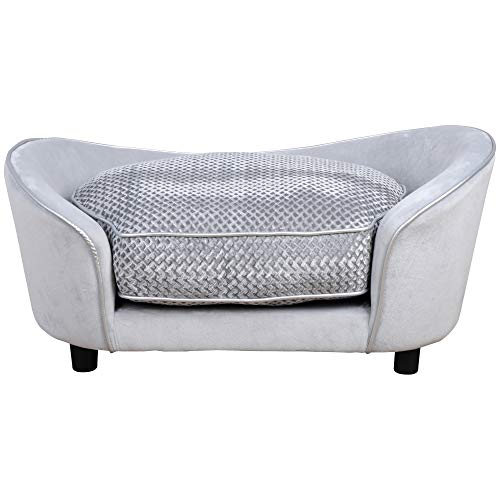 PawHut Pet Sofa Dog Bed Couch Cat Kitten Soft Mat Removable Cushion Grey 78.5 x 57 x 35.5 cm