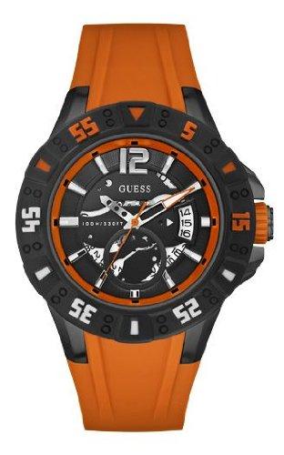 Guess Herren-Armbanduhr XL Magnum Analog Quarz Silikon W0034G8