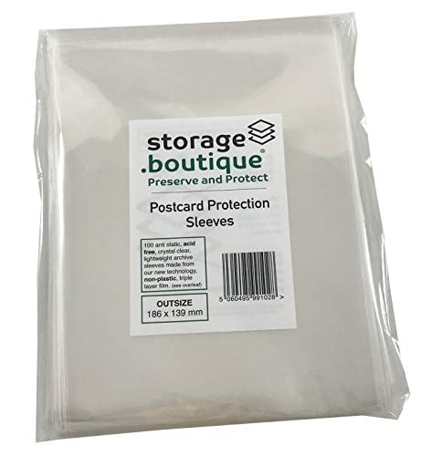 Storage.boutique Postcard Protection Sleeves, Crystal Clear, Acid Free, 3-Layer, Outsize (186 x 139 mm), 100