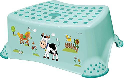 Premium Tritthocker stabiler Hocker Funny Farm aquamarin für Kinder mit Anti-Rutsch-Funktion