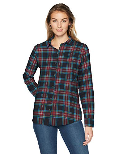 Amazon Essentials Women's Long-Sleeve Classic-Fit Lightweight Plaid Flannel Shirt Shirt, -black tartan, Medium