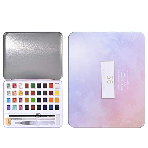 Brawdress Metallic Watercolor Painting Set 12/36 Vivid Color in Portable Box Quick Dry Smooth Gift for Artist Students, Metallic Colors Paint Set, Portable, Perfect for Artists Hobbyists