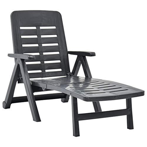 vidaXL Klappliege Klappbar Witterungsbeständig Sonnenliege Gartenliege Strandliege Liege Relaxliege Liegestuhl Gartenmöbel Kunststoff Anthrazit