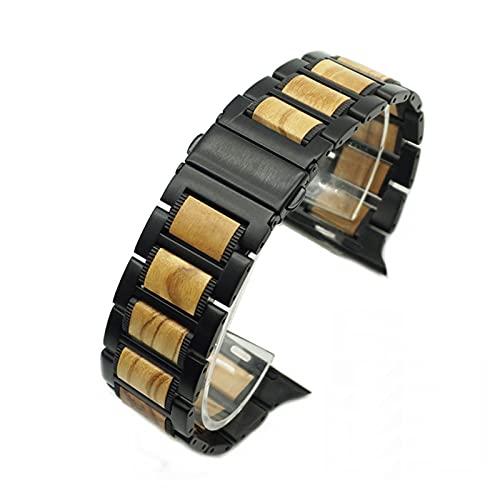 DJDLOK Banda de Metal de Madera para Reloj 44/40/42 / 38mm Pulsera de sándalo Rojo Natural + Serie de Correa de Acero Inoxidable 6 SE 5 4 3 (Band Color : Black Wooden, Band Width : 40mm)