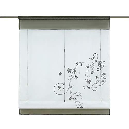 Thinkbay 1PCS Velato Liftable Organza Ricamato Cucina Tende Roman Window Shades, Tessuto, Grey, 39x55''