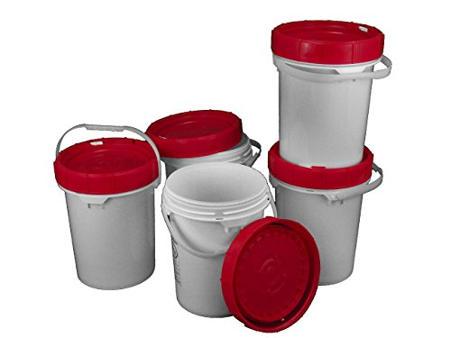 Screw Top Life latch 90 mil Bucket - 5 Gallon, Red Lid - 5 Pack