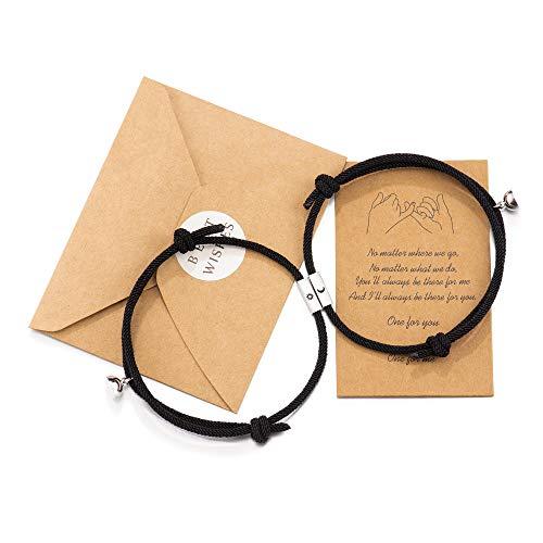 Wilacia Paar Armbänder Magnetische Sonne und Mond Verbindende passende Beziehung Armbänder für Paare Geschenke für Frauen Männer Liebhaber Freund Freundin Ihn Ihr