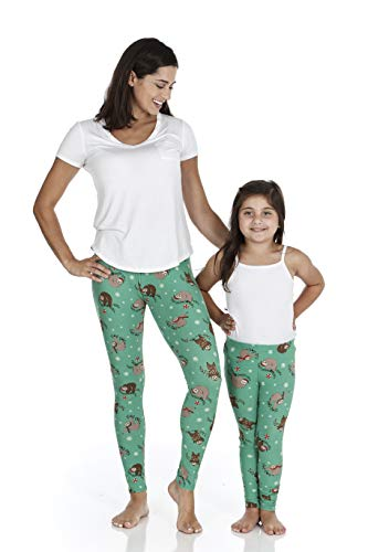 just one Women's and Girl's Soft Brushed Printed Christmas Leggings - Christmas Sloth