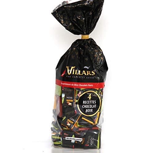 Villars Assortiment de mini chocolats noirs, 4 verschiedene dunkle Schokoladen-Pralinen-Sortiment, insgesamt 500g.