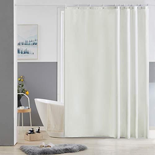 Furlinic Duschvorhang Beige 180x180 aus Polyester Stoff Antischimmel Wasserabweisend Waschbar Badvorhang Textil für Badewanne Bad Beige mit 12 Duschvorhangringe.
