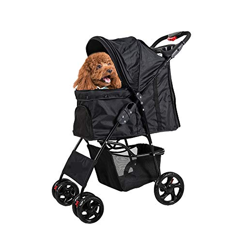 Lucky Tree Pet Stroller for Small Dog Cat Easy Walk Jogger Folding Travel Carrier Cart for Small Animals, 4 Wheels, Black