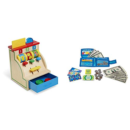Melissa & Doug Spin & Swipe Wooden Cash Register (Developmental Toy, Great Gift for Girls and Boys - Best for 3, 4, 5, and 6 Year Olds) & Pretend-to-Spend Wallet , Blue
