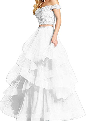 PearlBridal Women's Off Shoulder Lace Two Pieces Prom Dresses Appliques Long Evening Ball Gowns White Size 6