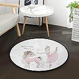 Mnsruu Lindo unicornio con citas de niña de bailarina alfombra redonda para sala de estar, dormitorio de 3 pies de diámetro (92 cm)