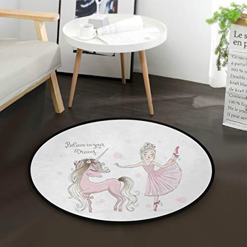 Mnsruu - Alfombra redonda con citas de unicornio y bailarina para sala de estar o dormitorio, 92 cm de diámetro