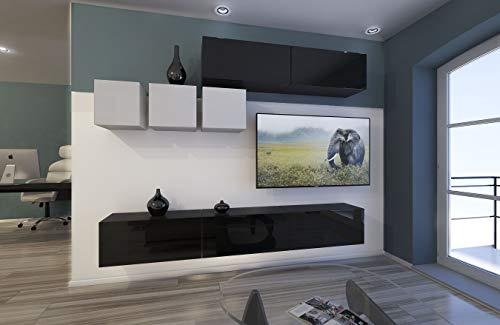 Home Direct Toronto N273 Schwarz-Weiß Modernes Wohnzimmer Wohnwand Wohnschrank Schrankwand Möbel Mediawand (AN273-17BW-HG22 1B groß)