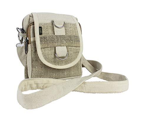 Furein Bolso Bandolera Riñonera Multifuncional de Tela Hecha a Mano, Bolso Cinturon Diseño Étnico Casual con Correa Ajustable (Beige blanco)