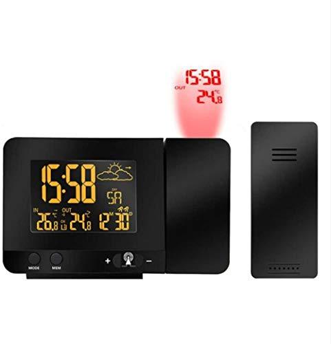 PKLFQQA Reloj Despertador Proyección de Control Remoto de Radio LCD Digital con medidor de Temperatura y Humedad de estación meteorológica