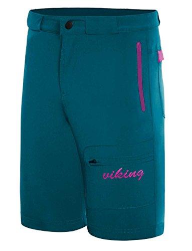 viking Kurze Hose Damen - Outdoor Short für Trekking, Radfahren, Wandern - schnelltrocknend und elastisch - inkl. Gürtel - Dolomite Lady, Türkis, M
