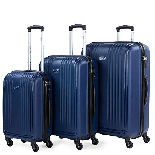 ITACA - Juego de 3 Maletas de Viaje rígidas de Polipropileno con Cerradura TSA Ligeras y s tamaño Cabina Mediana y Grande 760300, Color Marino