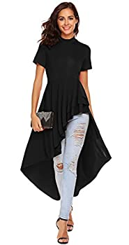 SimpleFun Women Round Neck Short Sleeve High Low Hem Irregular T-Shirt Blouse Tops Dress Black,M